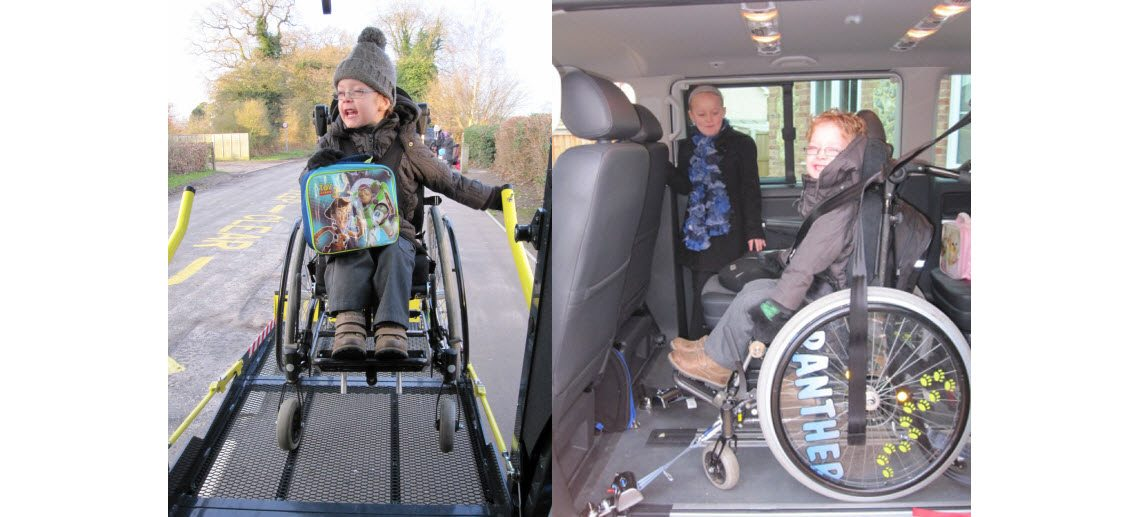 PIctures of a boy in a wheelchair we provided with an adapted car seat
